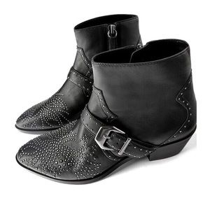 Zara Cowboy Heel Leather Ankle Micro Stud Boots